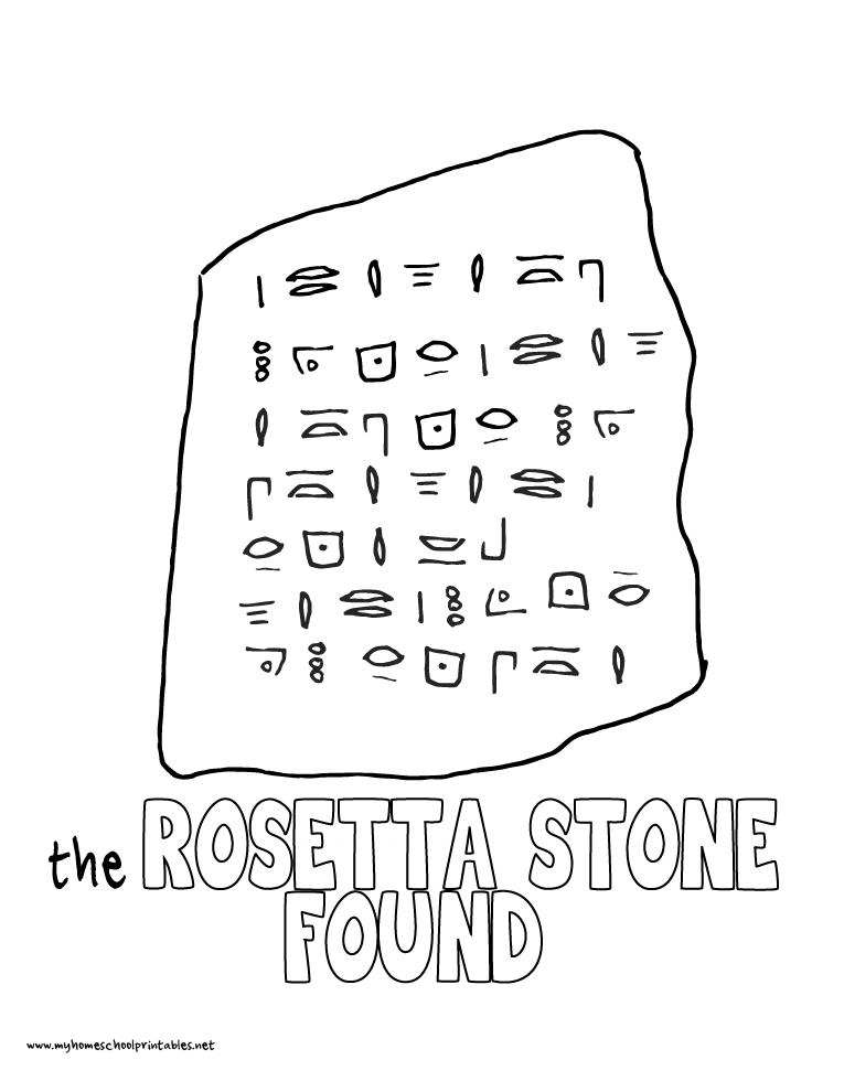 World History Coloring Pages Printables the Rosetta Stone Found