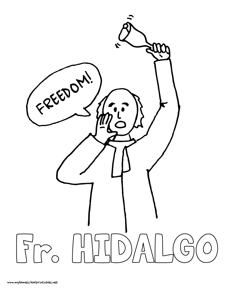 World History Coloring Pages Printables Father Hildago Cry of Delores
