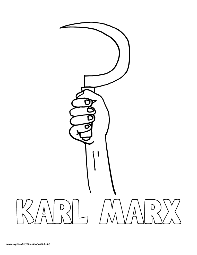 World History Coloring Pages Printables Karl Marx Proletarians Unite