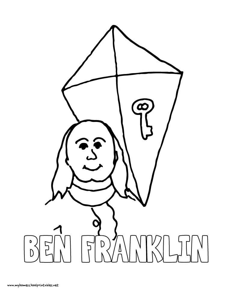 World History Coloring Pages Printables Benjamin Franklin with Kite