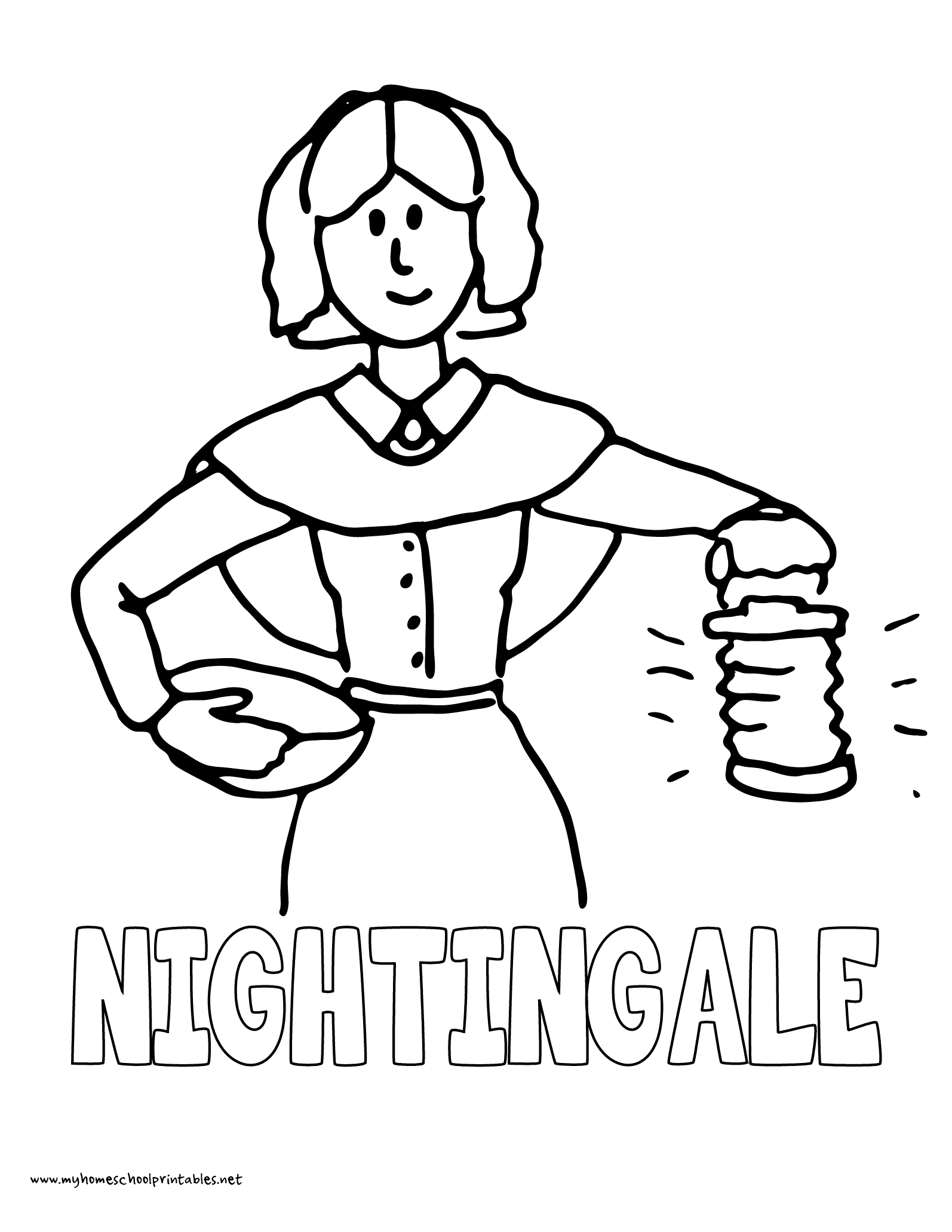 World History Coloring Pages Printables Florence Nightingale Lady with the Lamp