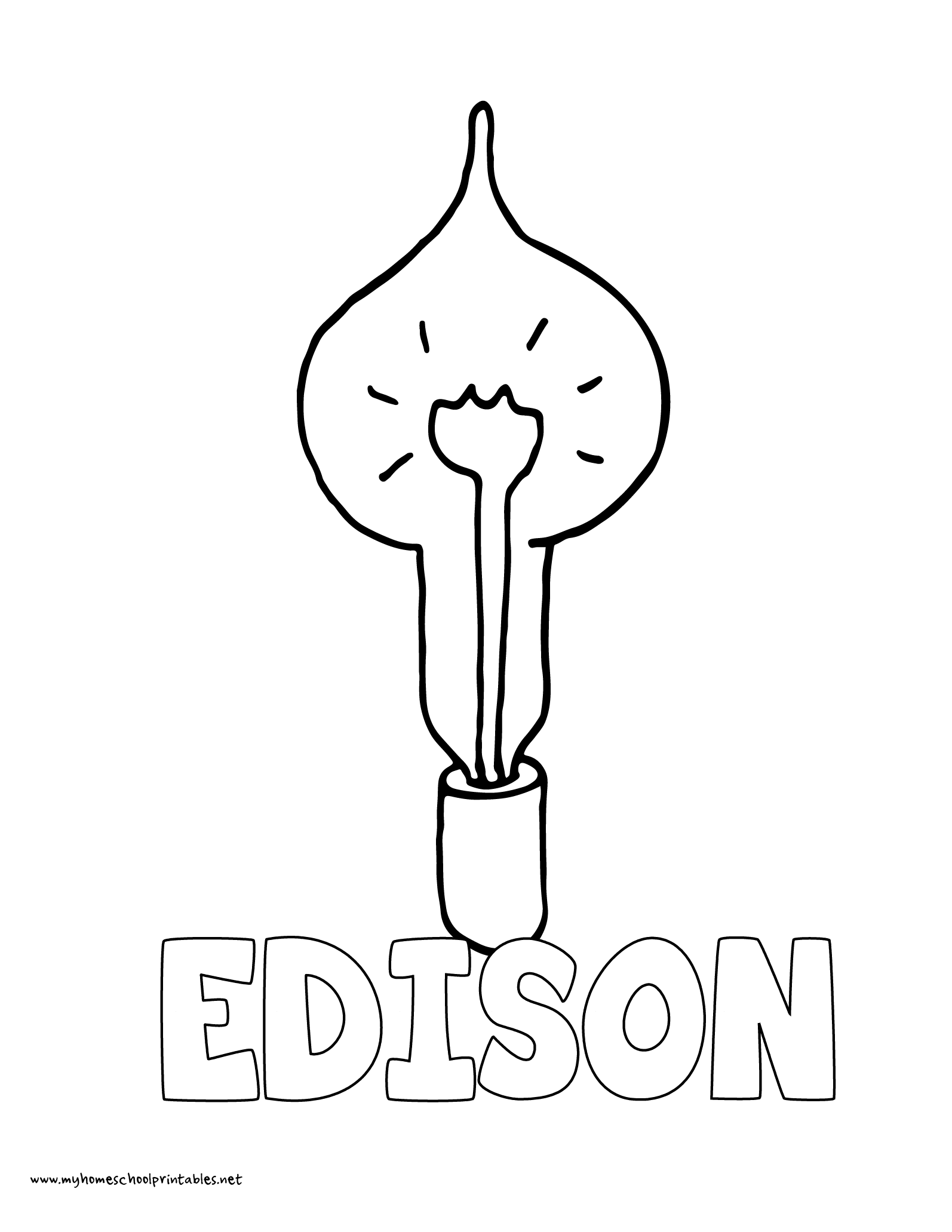World History Coloring Pages Printables Thomas Edison Invents Lightbulb