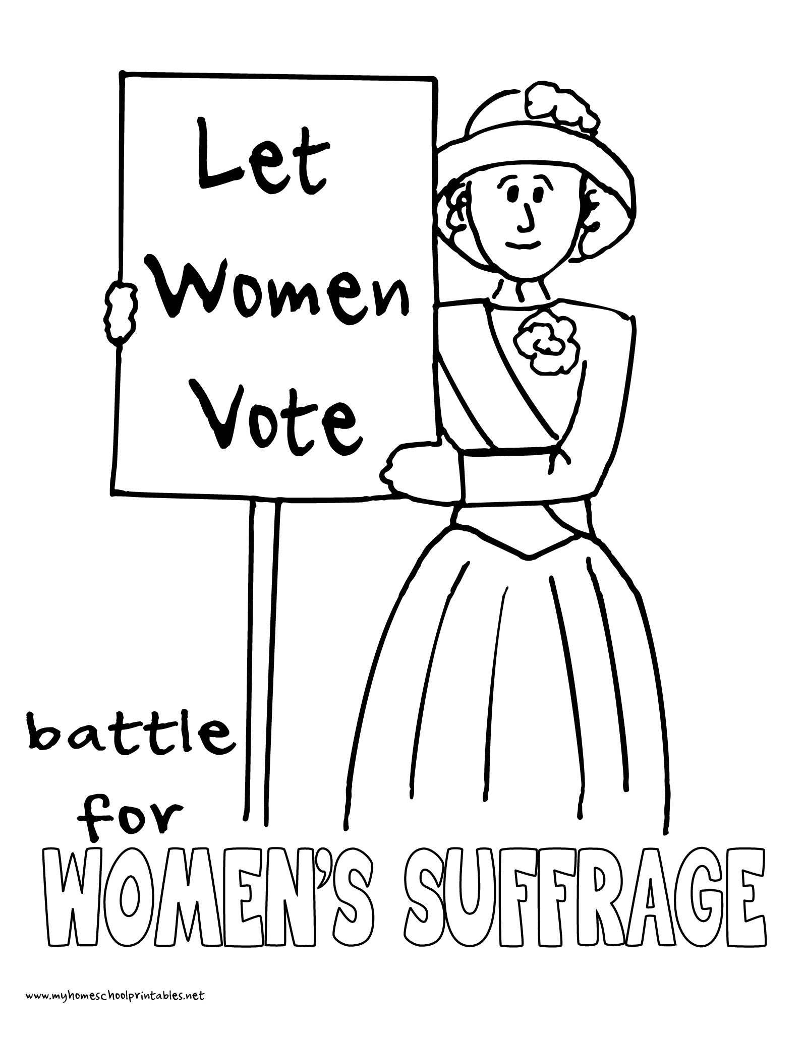 World History Coloring Pages Printables Women's Suffrage Protests