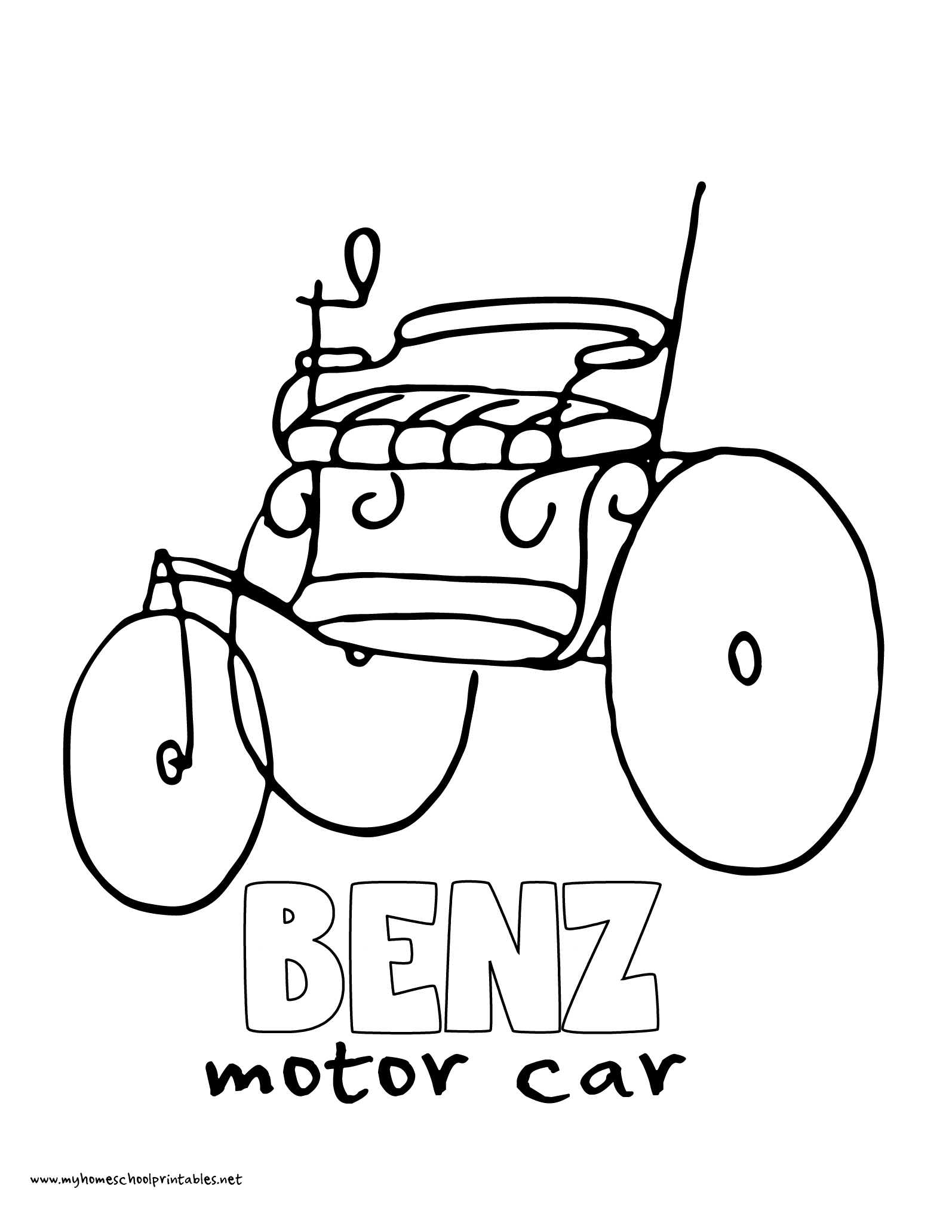 World History Coloring Pages Printables Karl Benz Motorwagen Automobile