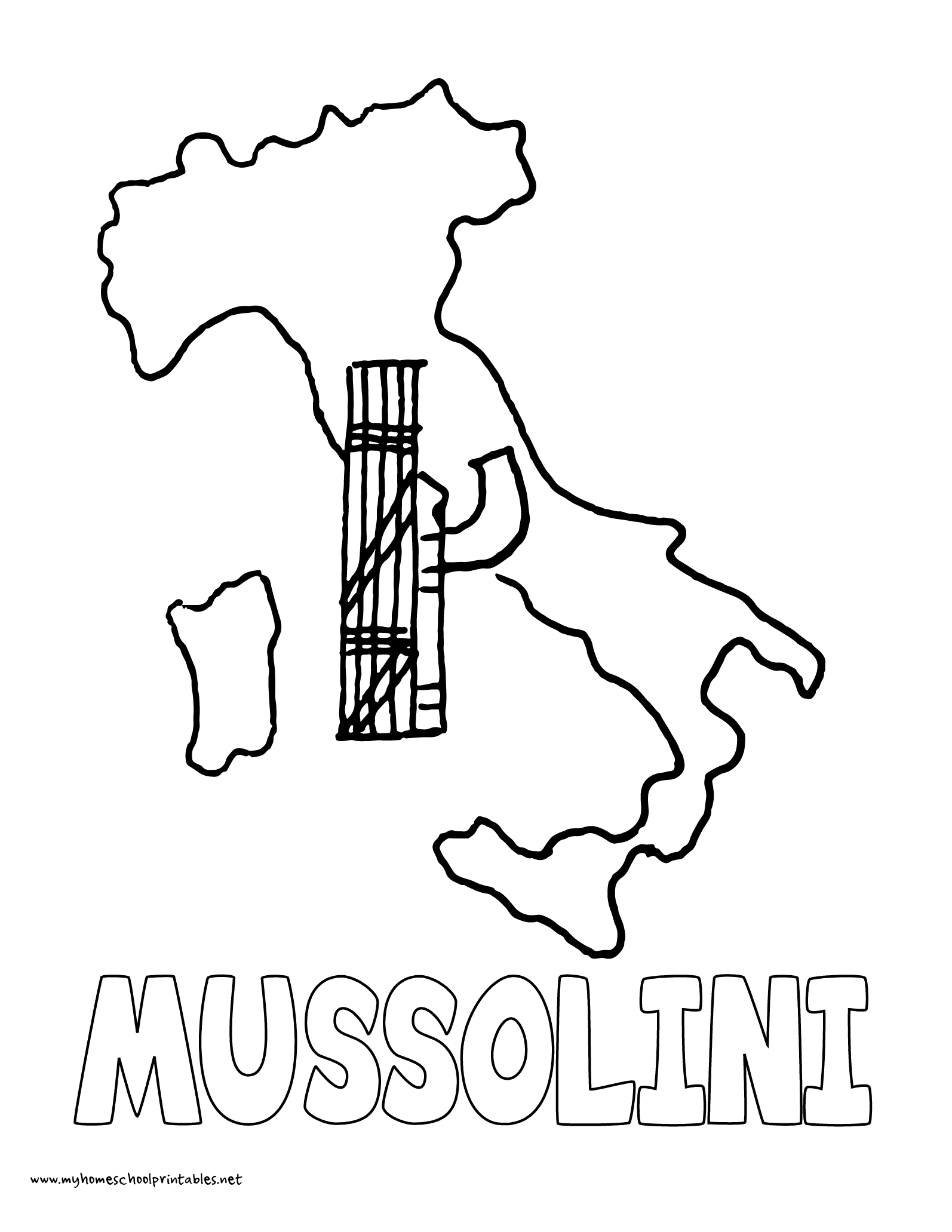 World History Coloring Pages Printables Benito Mussolini