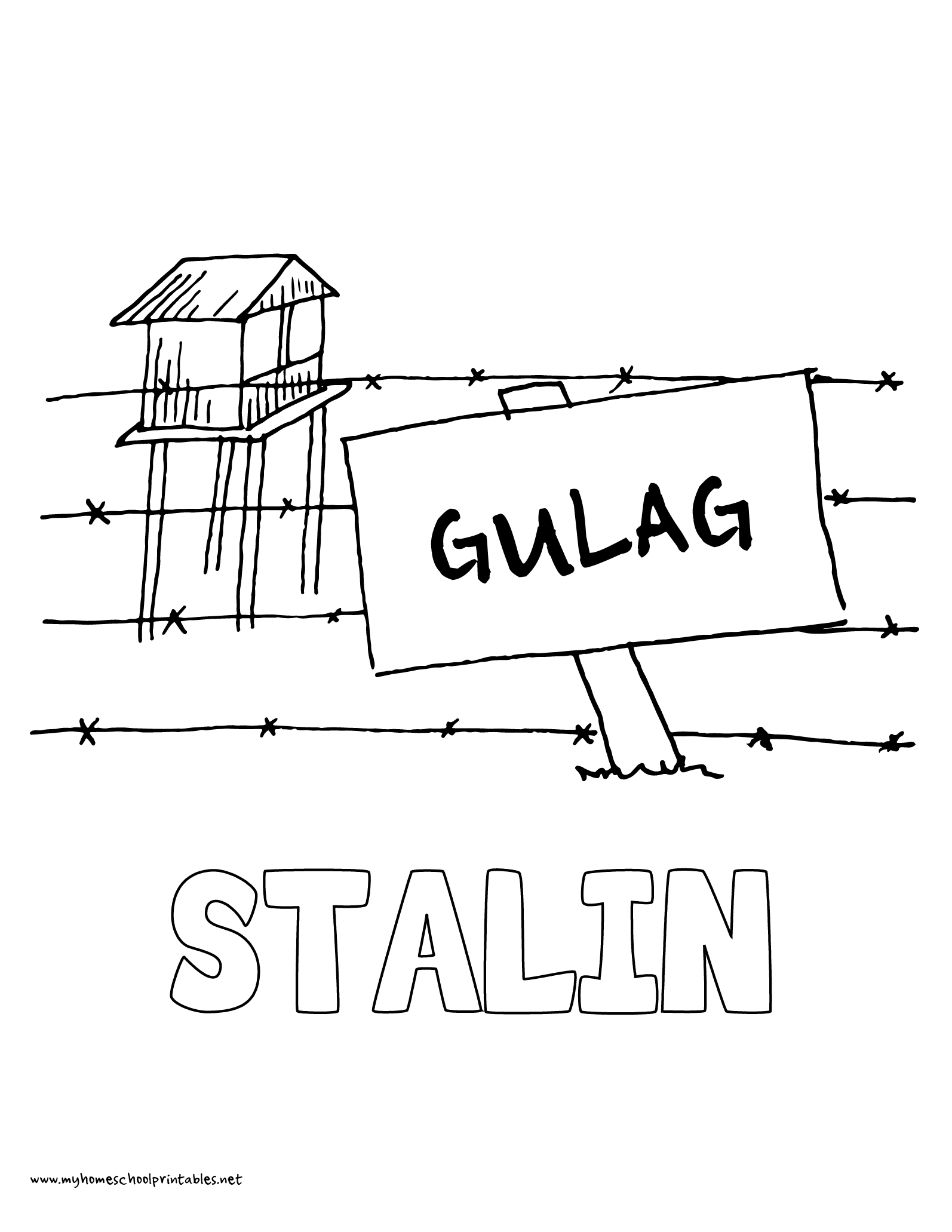 World History Coloring Pages Printables Joseph Stalin Concentration Camp Gulag