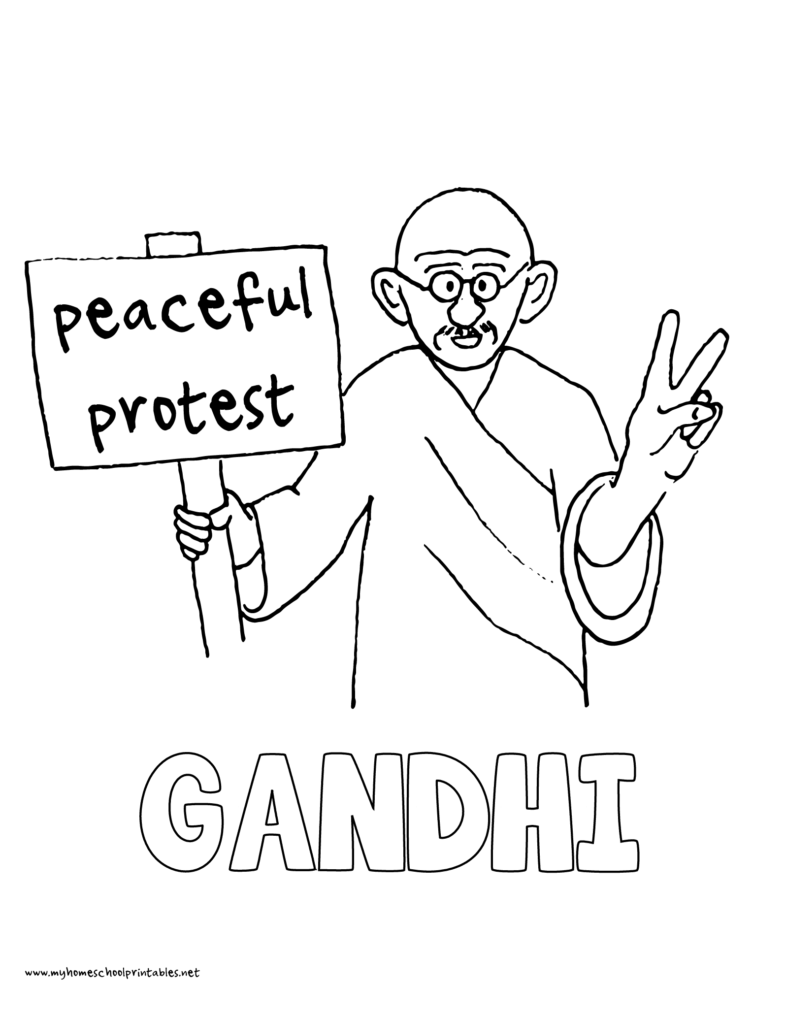 World History Coloring Pages Printables Mahatma Gandhi Peaceful Protest