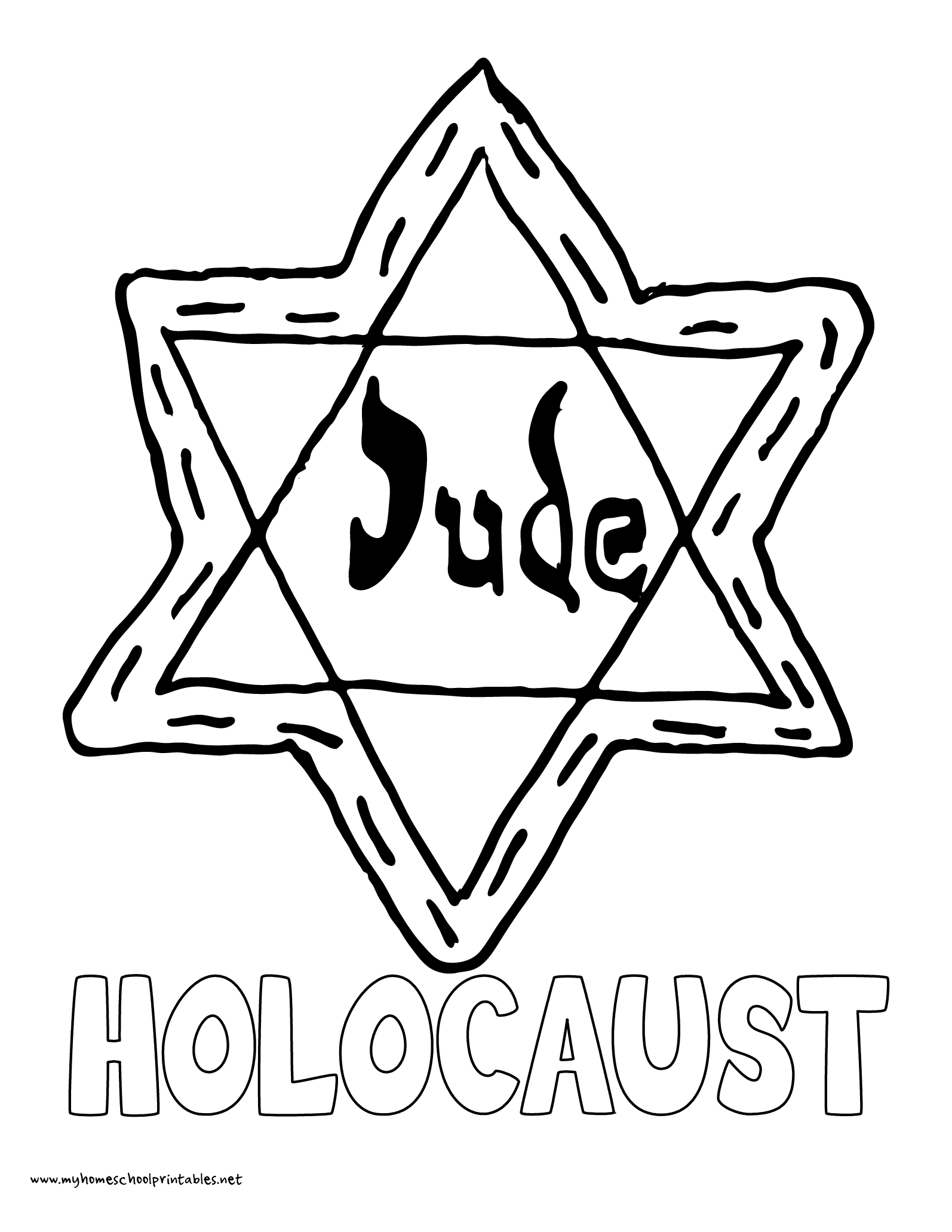 World History Coloring Pages Printables Holocaust Jewish Star