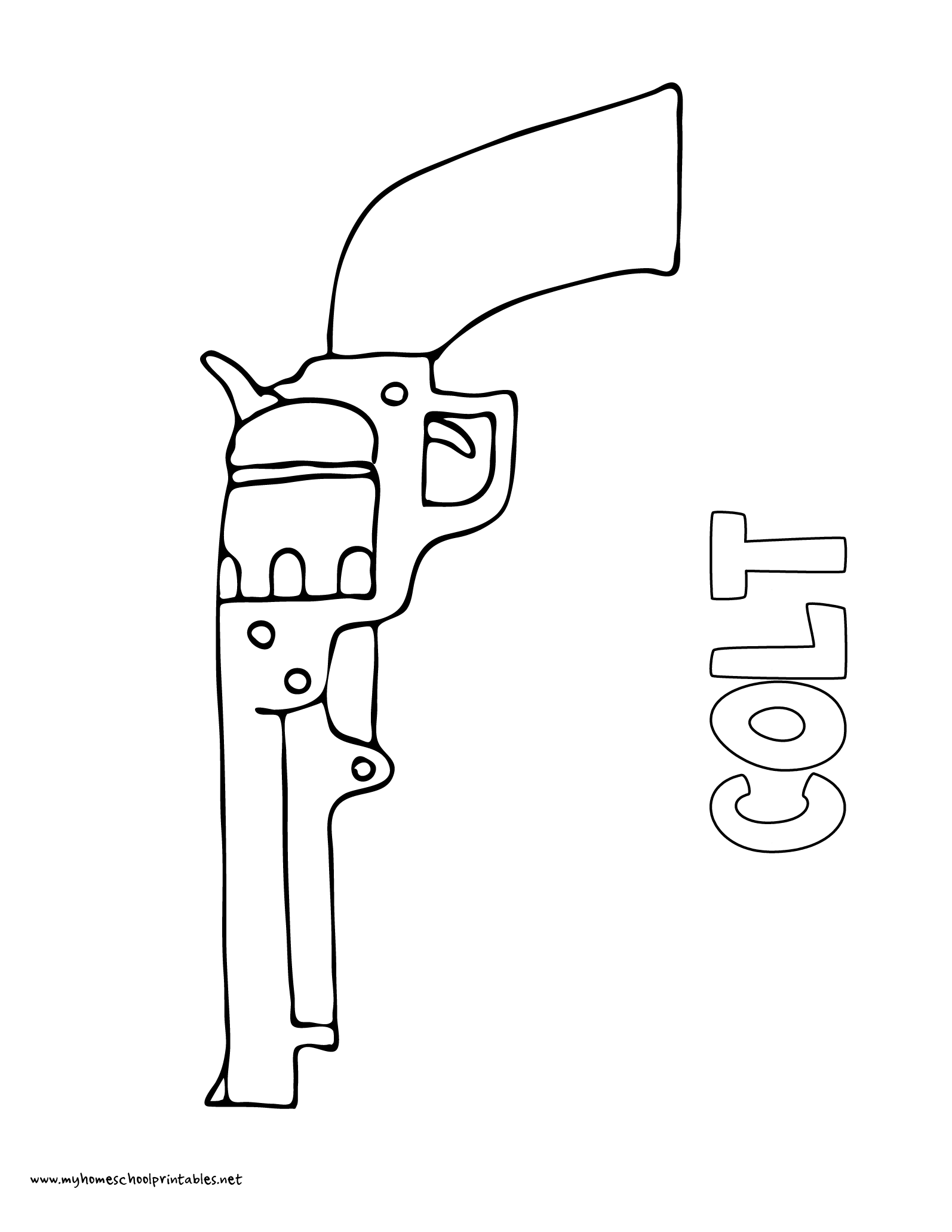 World History Coloring Pages Printables Colt Pistol