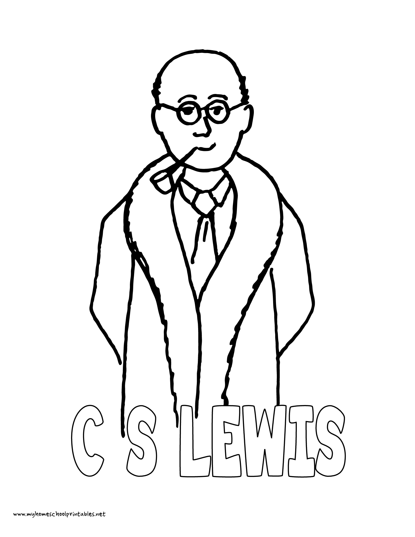 World History Coloring Pages Printables C.S. Lewis with Pipe