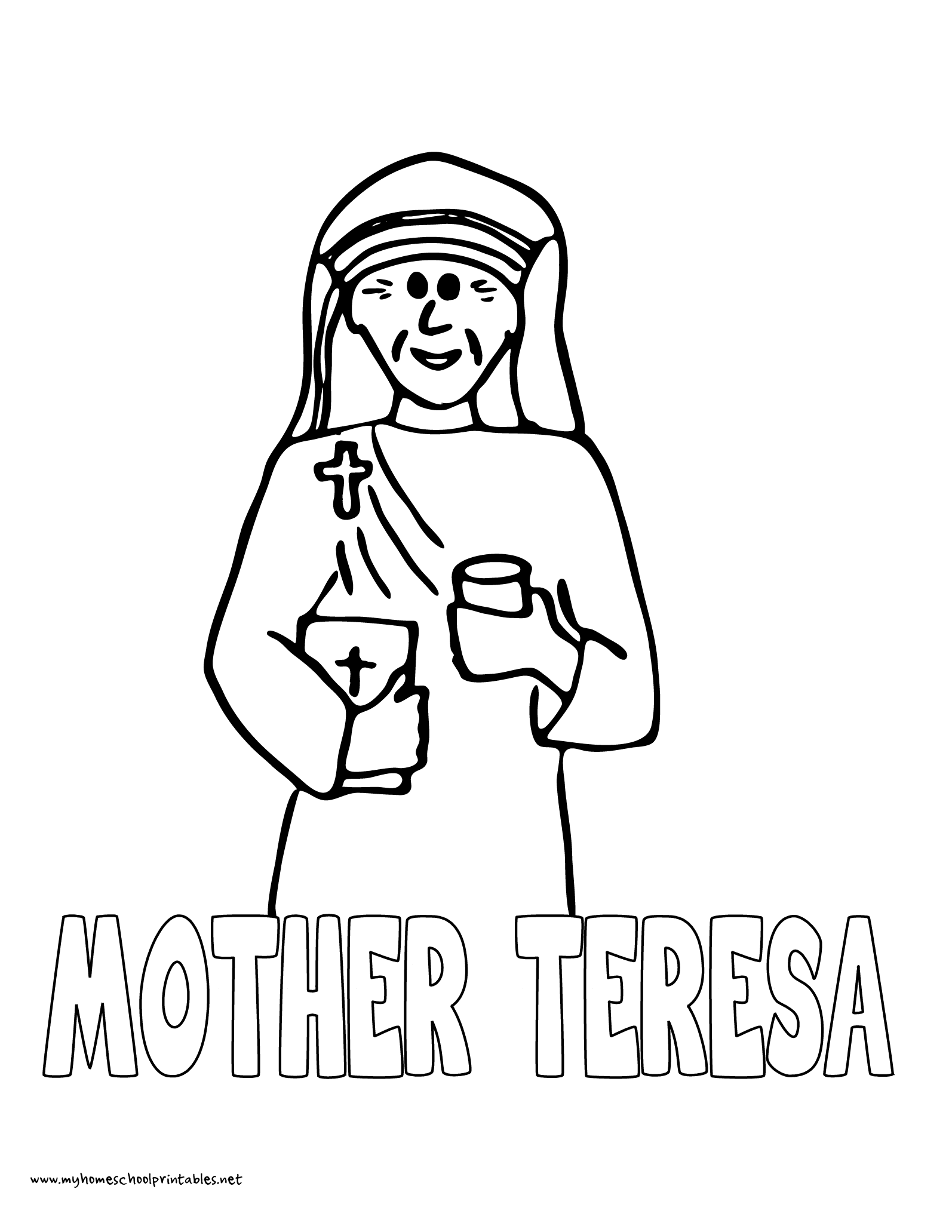 World History Coloring Pages Printables Mother Teresa