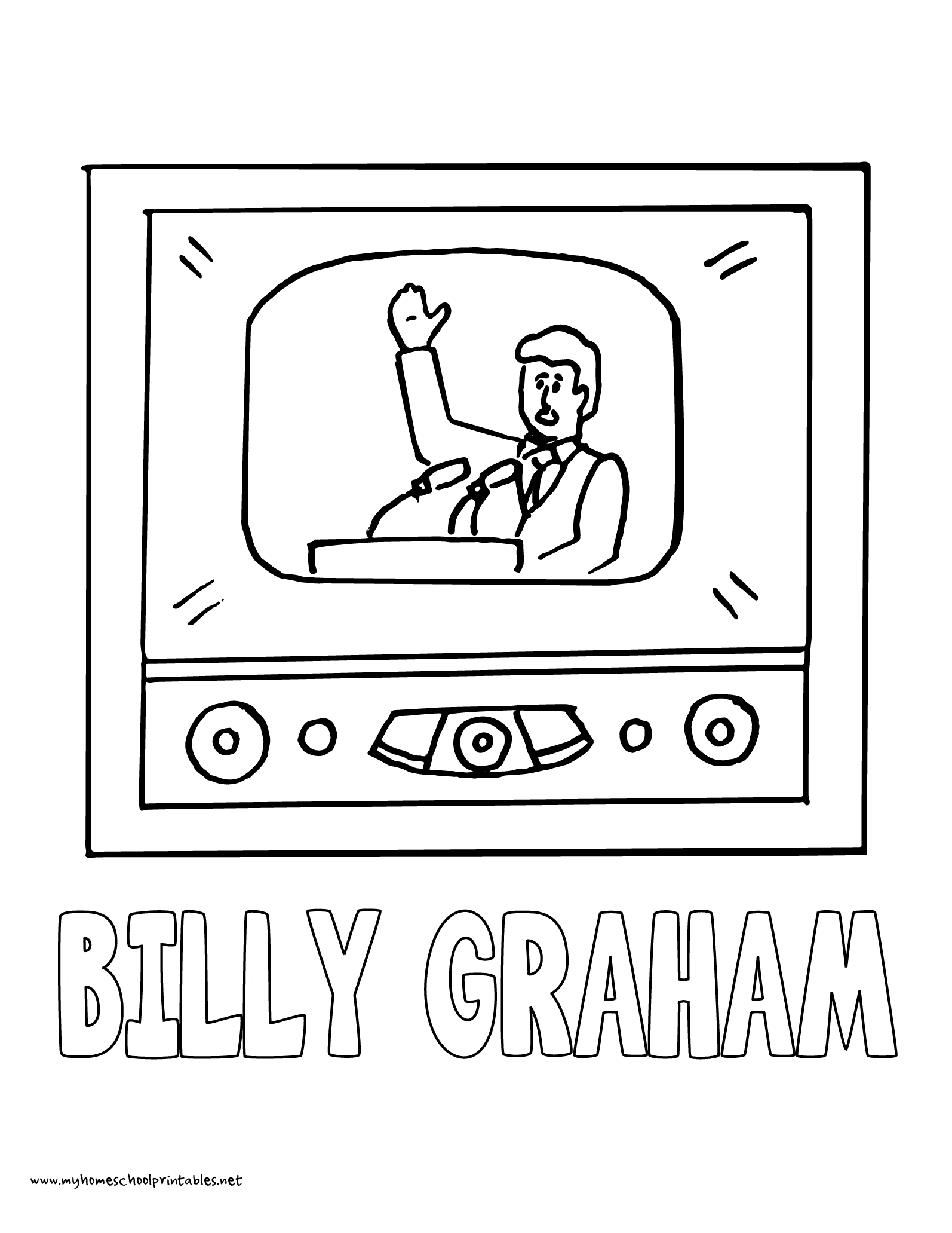 World History Coloring Pages Printables Billy Graham Television Evangelism