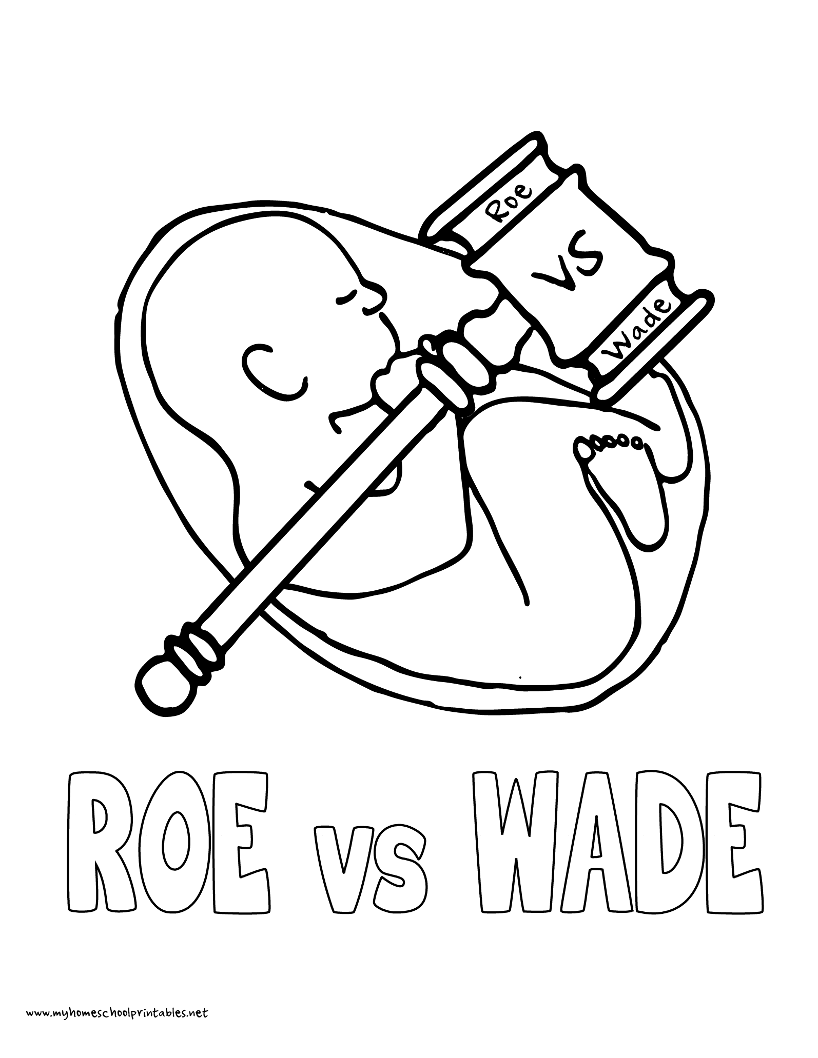 World History Coloring Pages Printables Roe Verses Wade Unborn Baby