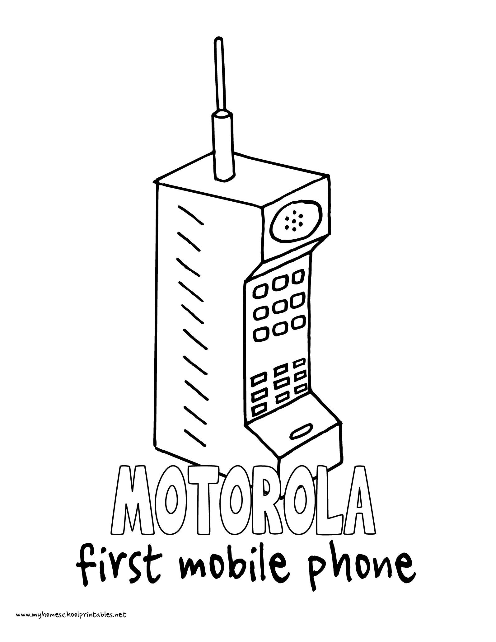 World History Coloring Pages Printables Motorola Brick Phone First Phone