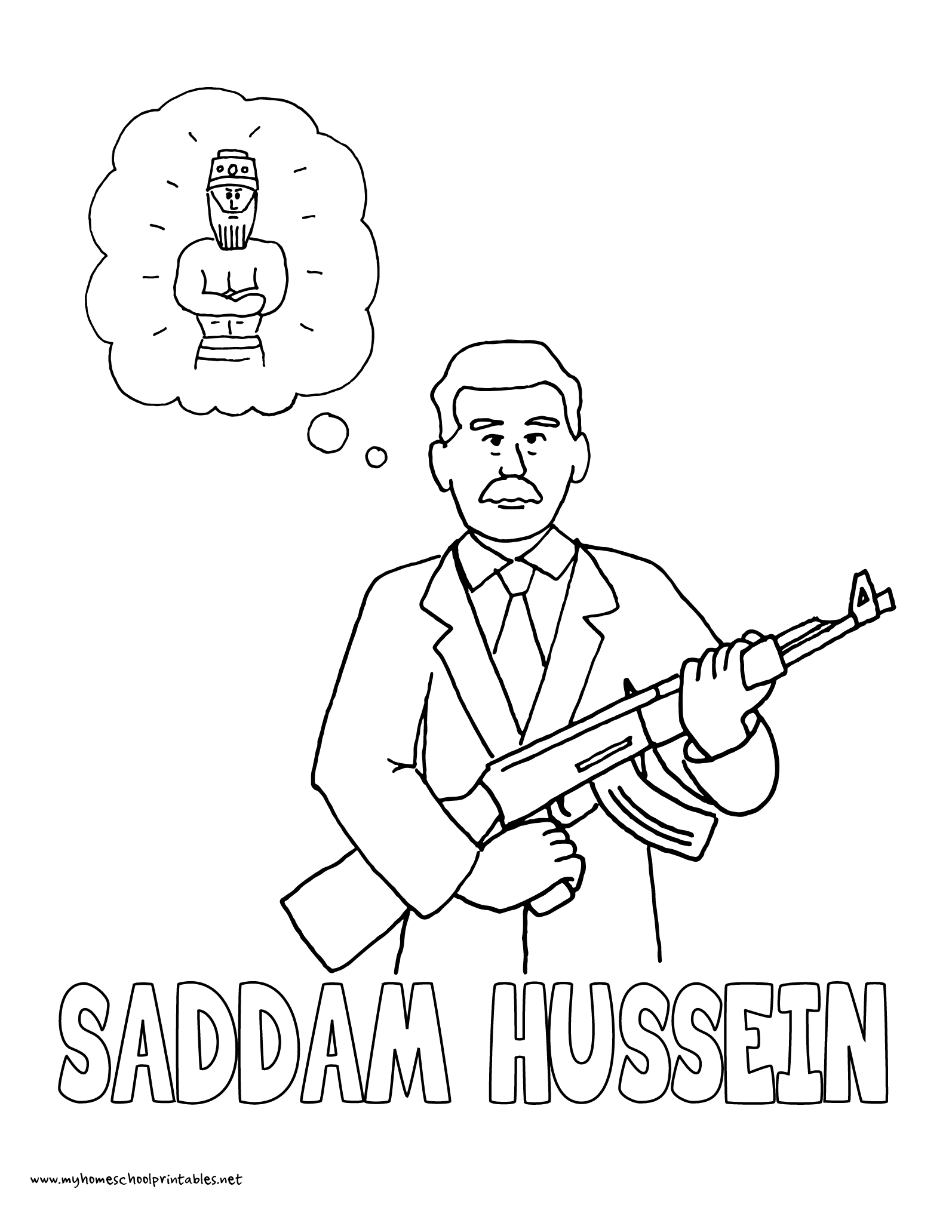 World History Coloring Pages Printables Saddam Hussein Nebuchadnezzar