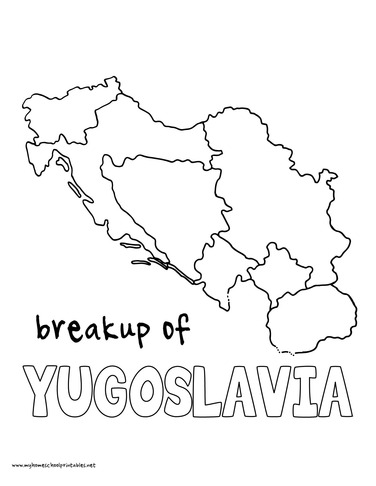 World History Coloring Pages Printables Break up of Yugoslavia
