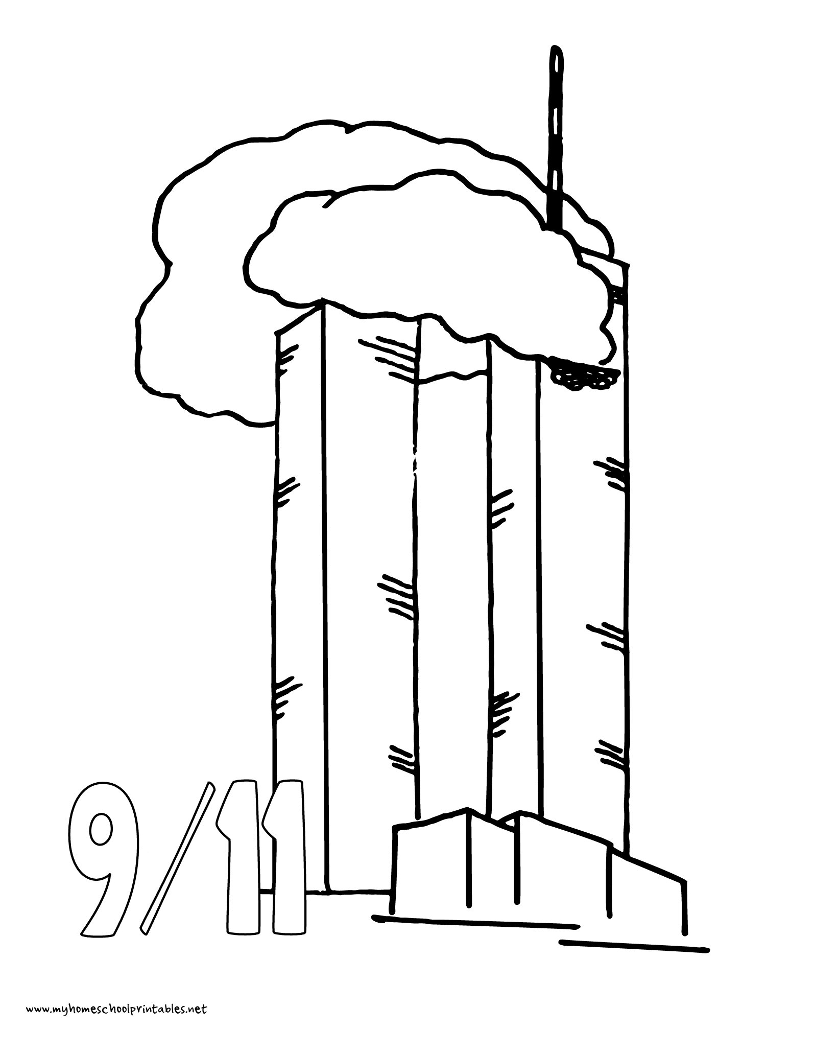 World History Coloring Pages Printables 9 11 World Trade Center Terrorist Attack