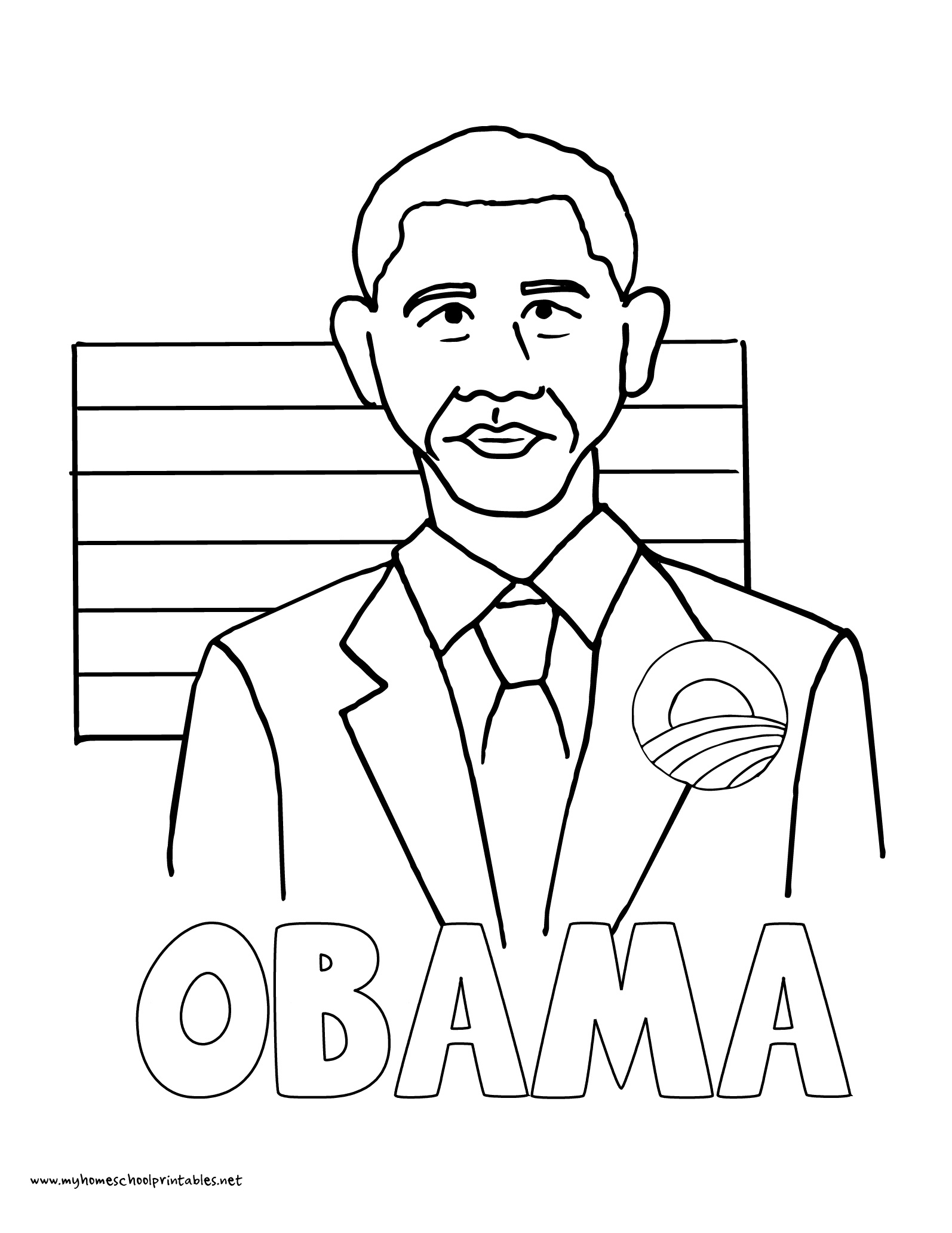 World History Coloring Pages Printables President Barak Obama ObamaCare